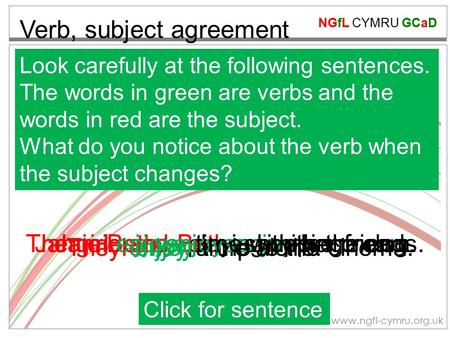 NGfL CYMRU GCaD www.ngfl-cymru.org.uk Verb, subject agreement Look carefully at the following sentences. The words in green are verbs and the words in.