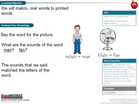 READY TO TEACH SM EDI ® Lessons ©2012 All rights reserved. CA 1 st Grade Reading Vocabulary 1.1 Match oral words to printed words. Lesson to be used by.