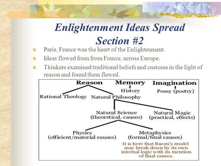 Enlightenment Ideas Spread Section #2 Paris, France was the heart of the Enlightenment. Ideas flowed from from France, across Europe. Thinkers examined.