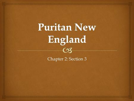 Chapter 2: Section 3.  What do you KNOW about the Puritans?