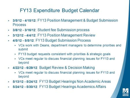 FY13 Expenditure Budget Calendar ▸ 3/5/12 - 4/15/12: FY13 Position Management & Budget Submission Process ▸ 3/8/12 - 3/16/12 : Student fee Submission process.
