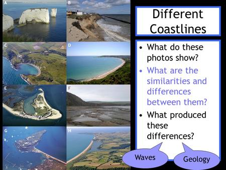 What do these photos show? What are the similarities and differences between them? What produced these differences? Different Coastlines Waves Geology.