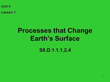 Processes that Change Earth's Surface