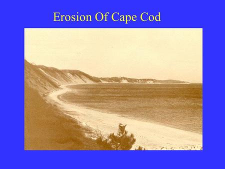 Erosion Of Cape Cod. Formation of the Cape Glacial till deposited on the remnance of ancient mountain range Came out of its permafrost state 12,000 years.