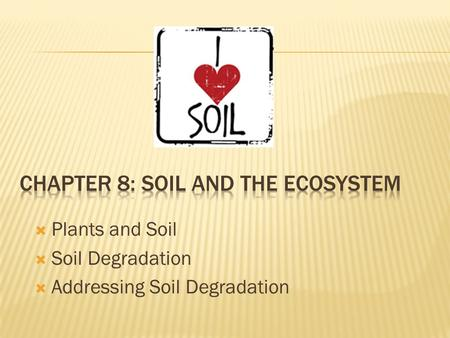  Plants and Soil  Soil Degradation  Addressing Soil Degradation.