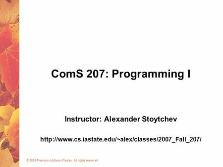 © 2004 Pearson Addison-Wesley. All rights reserved ComS 207: Programming I Instructor: Alexander Stoytchev