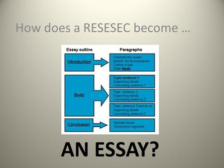 AN ESSAY? How does a RESESEC become …. RESESEC A RESESEC is just a mnemonic device for helping you to write an answer to an OPEN RESPONSE question. --