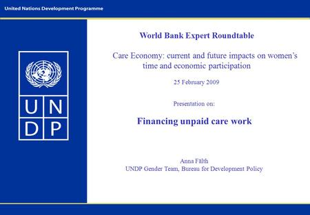 World Bank Expert Roundtable Care Economy: current and future impacts on women's time and economic participation 25 February 2009 Presentation on: Financing.