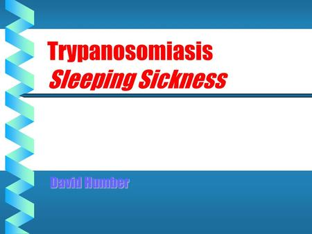 Trypanosomiasis Sleeping Sickness David Humber. Trypanosomes of Vertebrates T.corvi Corvids T.cruzi Humans, rodents, marsupials T.brucei sp Man, ungulates.