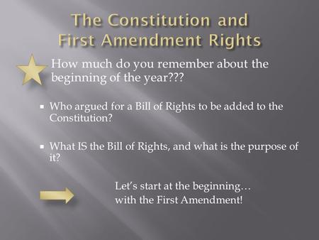 How much do you remember about the beginning of the year???  Who argued for a Bill of Rights to be added to the Constitution?  What IS the Bill of Rights,