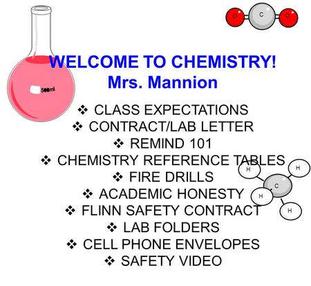 C O O C H H H H WELCOME TO CHEMISTRY! Mrs. Mannion  CLASS EXPECTATIONS  CONTRACT/LAB LETTER  REMIND 101  CHEMISTRY REFERENCE TABLES  FIRE DRILLS 