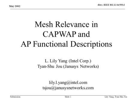Doc.: IEEE 802.11-04/595r2 Submission May 2002 Lily Yang, Tyan-Shu JouSlide 1 Mesh Relevance in CAPWAP and AP Functional Descriptions L. Lily Yang (Intel.