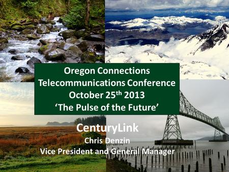 Take Care of the Customer - MARTIN CenturyLink Chris Denzin Vice President and General Manager Oregon Connections Telecommunications Conference October.