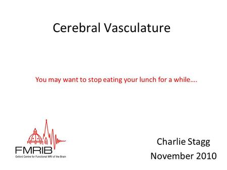 Cerebral Vasculature Charlie Stagg November 2010 You may want to stop eating your lunch for a while….