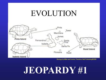EVOLUTION JEOPARDY #1 Biology by Miller and Levine; Prenntice Hall Publishing©2006.
