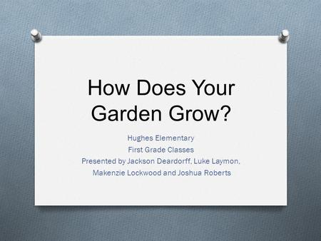 How Does Your Garden Grow? Hughes Elementary First Grade Classes Presented by Jackson Deardorff, Luke Laymon, Makenzie Lockwood and Joshua Roberts.