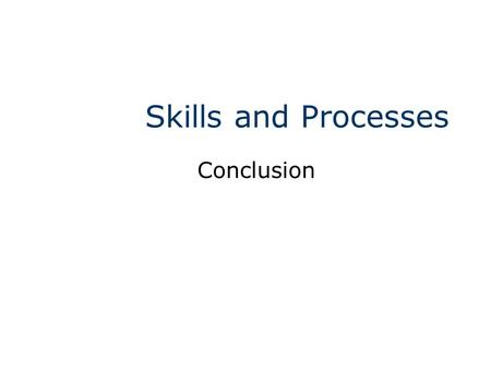 Skills and Processes Conclusion. Maryland Science Content Standard Communicate orally or in writing ad description of an investigation that includes: