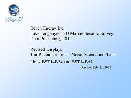 Beach Energy Ltd Lake Tanganyika 2D Marine Seismic Survey