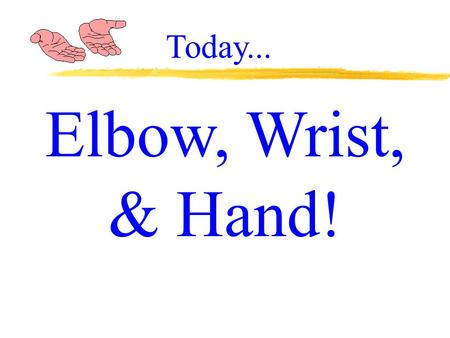 Elbow, Wrist, & Hand! Today.... Elbow: Anatomy, Injuries, Treatment, & Rehabilitation.