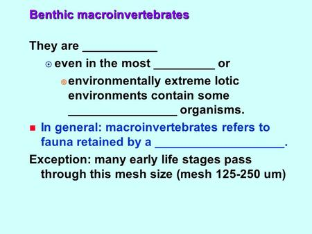 Benthic macroinvertebrates They are ___________  even in the most _________ or  environmentally extreme lotic environments contain some ________________.