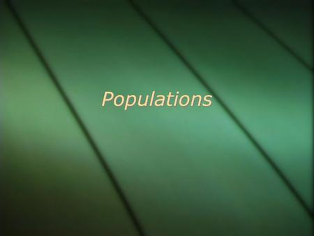 Populations. Population  Population is a group of organisms of the same species in an area.  To define a population you need to know  Type of individual.