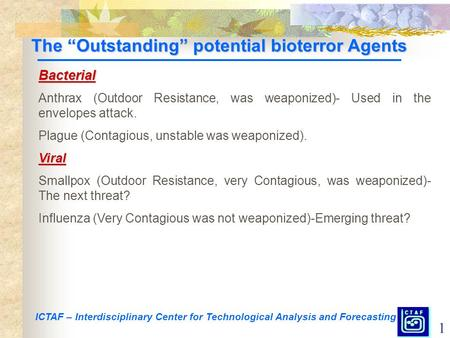 "1 ICTAF – Interdisciplinary Center for Technological Analysis and Forecasting The ""Outstanding"" potential bioterror Agents Bacterial Anthrax (Outdoor Resistance,"