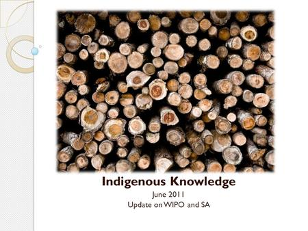 Indigenous Knowledge June 2011 Update on WIPO and SA.
