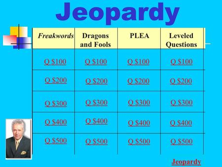 Jeopardy Freakwords Dragons and Fools PLEALeveled Questions Q $100 Q $200 Q $300 Q $400 Q $500 Q $100 Q $200 Q $300 Q $400 Q $500 Jeopardy.