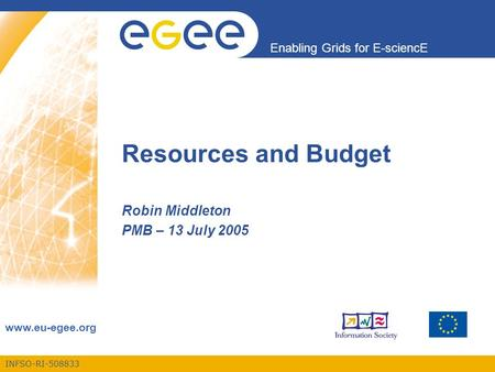 INFSO-RI-508833 Enabling Grids for E-sciencE www.eu-egee.org Resources and Budget Robin Middleton PMB – 13 July 2005.