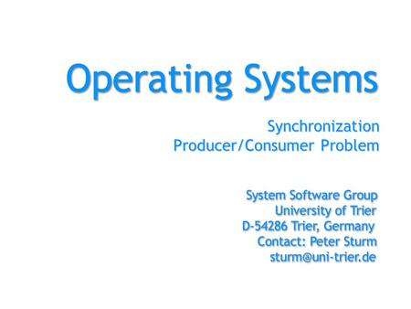 Synchronization Producer/Consumer Problem. Synchronization - PC with Semaphores2 Abstract The producer/consumer problem is a classical synchronization.