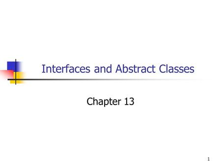 1 Interfaces and Abstract Classes Chapter 13. 22 Objectives You will be able to: Write Interface definitions and class definitions that implement them.