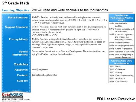 READY TO TEACH SM EDI ® Lessons ©2013 All rights reserved. EDI Lesson Overview 5 th Grade Math Learning Objective: We will read and write decimals to the.