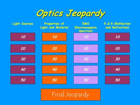 Optics Jeopardy Light SourcesProperties of Light and Material EMS ( Electromagnetic Spectrum) R & R (Reflection and Refraction) 10 30 40 50 20 10 40 50.