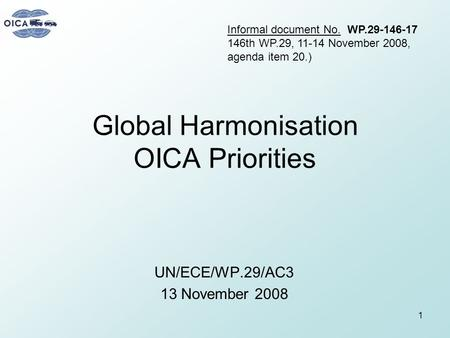 Global Harmonisation OICA Priorities UN/ECE/WP.29/AC3 13 November 2008 1 Informal document No. WP.29-146-17 146th WP.29, 11-14 November 2008, agenda item.