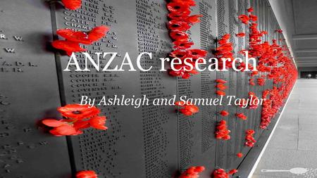 By Ashleigh and Samuel Taylor ANZAC research. Red Poppy The Red Poppy became a popular symbol for soldiers who died in battle. People in many countries.