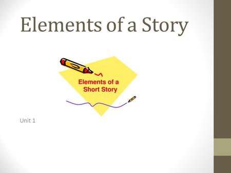 Elements of a Story Unit 1. All stories contain a number of elements (parts) in order for readers to understand and know what is happening throughout.