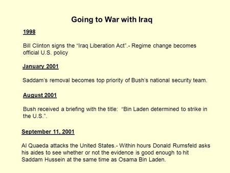 "Going to War with Iraq 1998 Bill Clinton signs the ""Iraq Liberation Act"".- Regime change becomes official U.S. policy January 2001 Saddam's removal becomes."