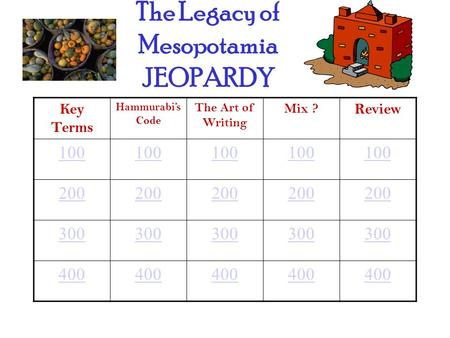 The Legacy of Mesopotamia JEOPARDY Key Terms Hammurabi's Code The Art of Writing Mix ? Review 100 200 300 400.
