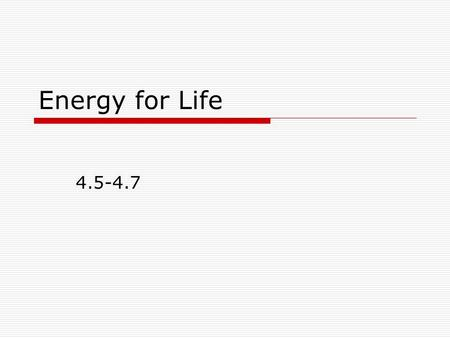 Energy for Life 4.5-4.7. The Sun and Photosynthesis: How We Get Energy  All activities by living things require energy.  Consumers get their energy.