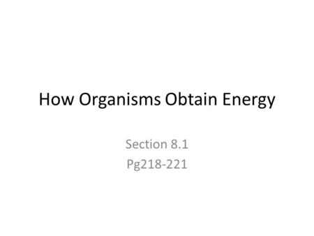 How Organisms Obtain Energy Section 8.1 Pg218-221.