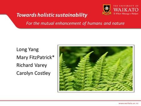Towards holistic sustainability For the mutual enhancement of humans and nature 2012 Long Yang Mary FitzPatrick* Richard Varey Carolyn Costley.