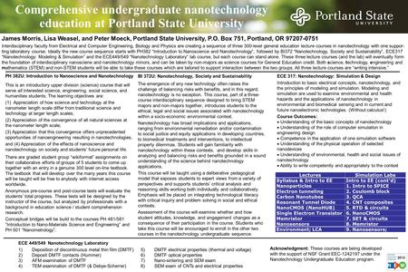 Comprehensive undergraduate nanotechnology education at Portland State University PH 382U: Introduction to Nanoscience and Nanotechnology This is an introductory.