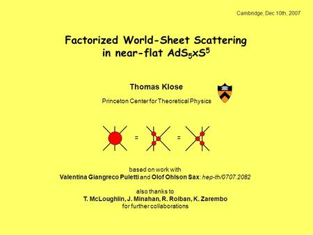 Cambridge, Dec 10th, 2007 Thomas Klose Princeton Center for Theoretical Physics based on work with Valentina Giangreco Puletti and Olof Ohlson Sax: hep-th/0707.2082.