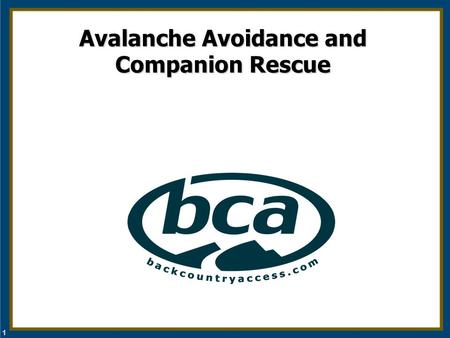 1 Avalanche Avoidance and Companion Rescue. 2 Outline Who's at risk What causes avalanches Educational resources Q and A Companion rescue (beacon, shovel.