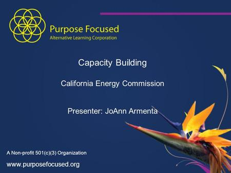 A Non-profit 501(c)(3) Organization www.purposefocused.org Capacity Building California Energy Commission Presenter: JoAnn Armenta.