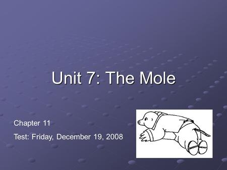 Unit 7: The Mole Chapter 11 Test: Friday, December 19, 2008.
