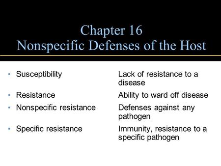 Chapter 16 Nonspecific Defenses of the Host SusceptibilityLack of resistance to a disease Resistance Ability to ward off disease Nonspecific resistanceDefenses.