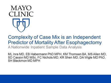 Complexity of Case Mix is an Independent Predictor of Mortality After Esophagectomy A Nationwide Inpatient Sample Data Analysis ML Inra MD, EB Habermann.