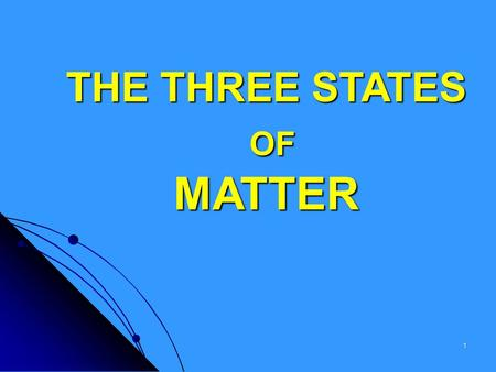 THE THREE STATES OF MATTER 1 What is matter? Matter is anything that has mass and takes up space. 2.