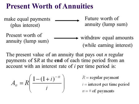 Present Worth of Annuities make equal payments The present value of an annuity that pays out n regular payments of $R at the end of each time period from.